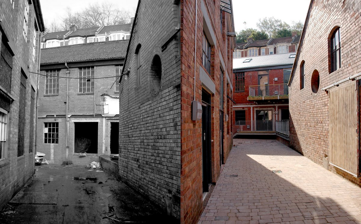 Before and after image of Colthurst Row.