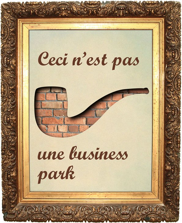 "Paintworks marketing board from 2004, pastiche of Magritte, reads ""Ceci n'est pas une business park"""
