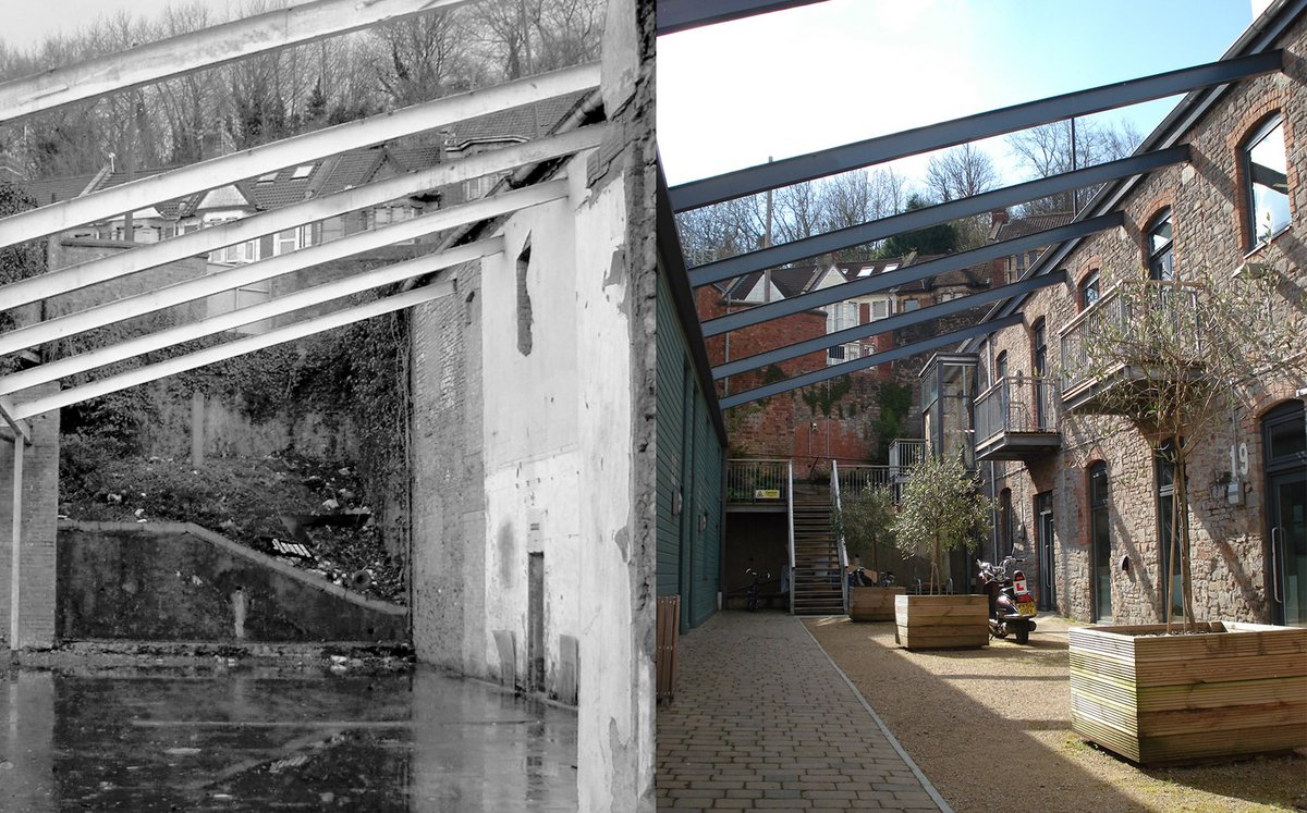 Before and after of Hardings Row
