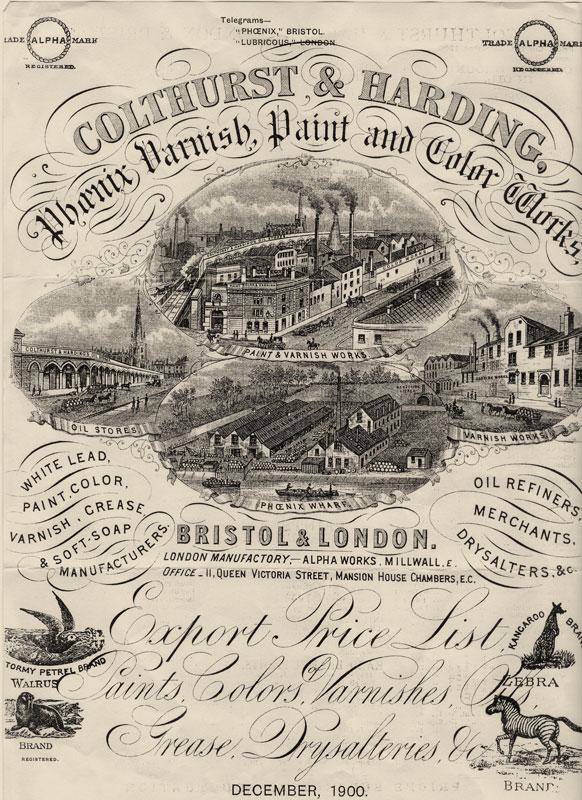 Vintage Colthurst Harding advert Paintworks, Bristol