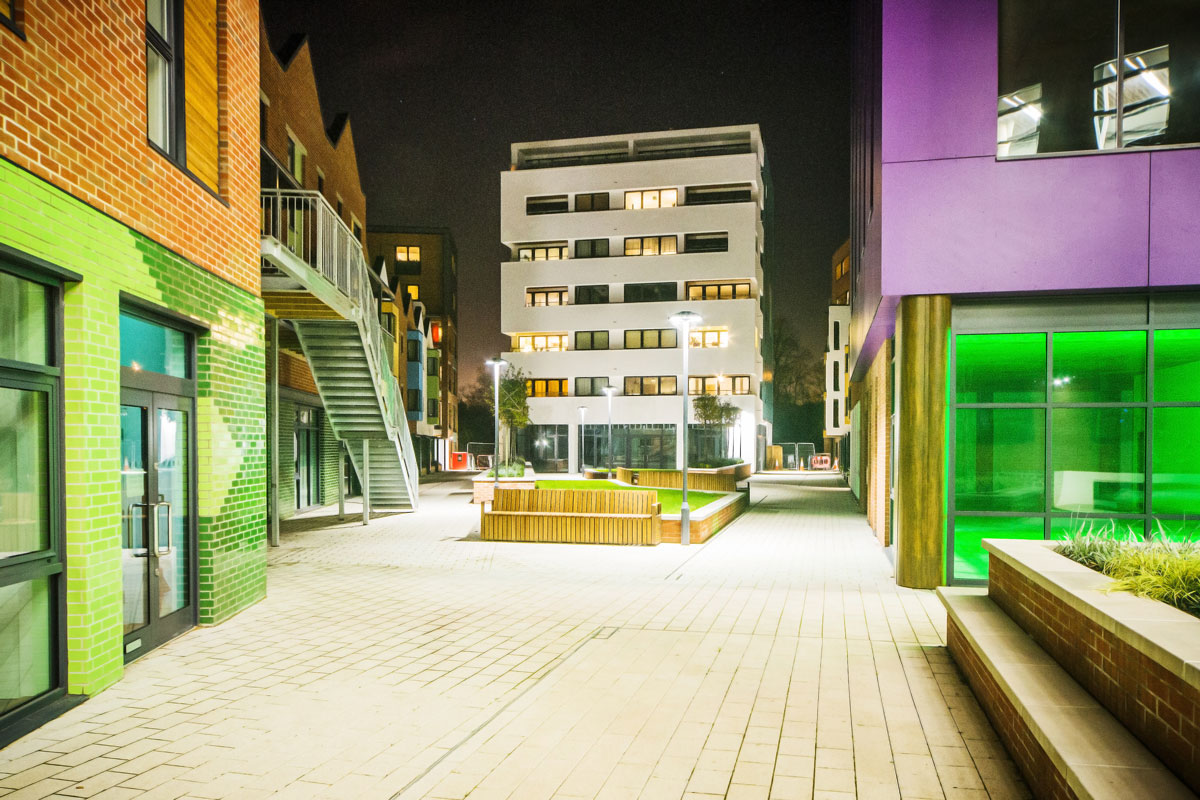 View across Phase 3 piazza at night,