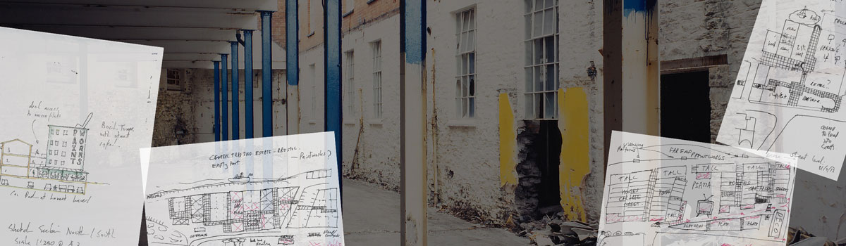 Design sketches of Paintworks over dilapidated building Paintworks, Bristol