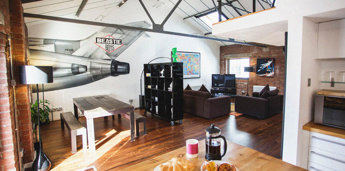 Loft apartment wth Beastie Boys mural